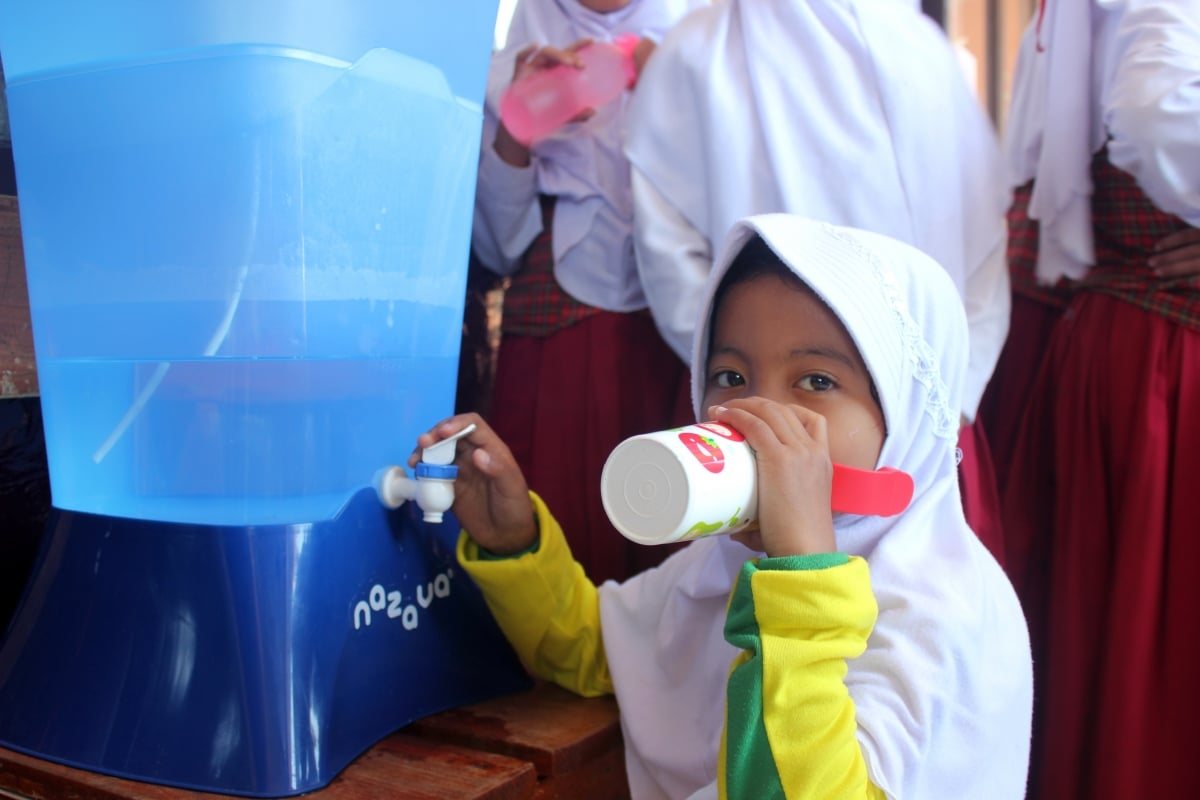 nazava water filter at a school in Bandung Indonesia